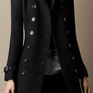 Black Wool Burberry Trench Coat Sz. 4